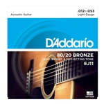 DAddario EJ11 80/20 Bronze Acoustic Guitar Strings, Light, 12-53