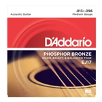 DAddario EJ17 Phosphor Bronze Acoustic Guitar Strings, Medium, 13-56